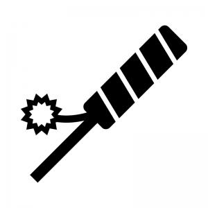 ロケット花火の白黒シルエットイラスト02