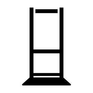 縦長のサインボードの白黒シルエットイラスト02
