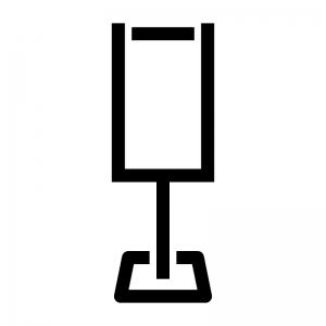 縦長のサインボードの白黒シルエットイラスト