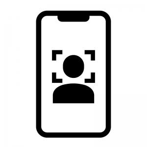 スマホの顔認証の白黒シルエットイラスト