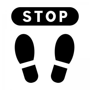 止まれ・STOPの白黒シルエットイラスト