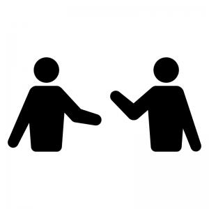 話し合い・会話の白黒シルエットイラスト