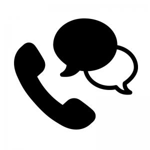 電話相談の白黒シルエットイラスト05