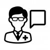 医師に電話相談の白黒シルエットイラスト02