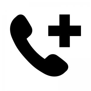 医療の電話相談の白黒シルエットイラスト
