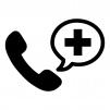 医療の電話相談の白黒シルエットイラスト02