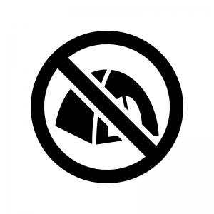 テントの設営禁止の白黒シルエットイラスト