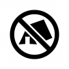 テントの設営禁止の白黒シルエットイラスト02