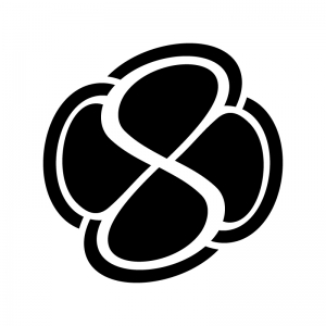 四つ葉マークの白黒シルエットイラスト