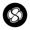 四つ葉マーク(白抜き)の白黒シルエットイラスト