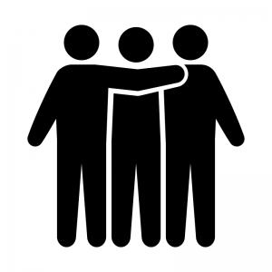 三人で肩を組んでいる白黒シルエットイラスト