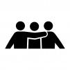 三人で肩を組んでいる白黒シルエットイラスト02
