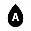 A型の血液型の白黒シルエットイラスト