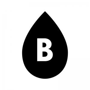 B型の血液型の白黒シルエットイラスト
