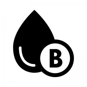 B型の血液型の白黒シルエットイラスト02