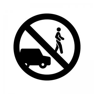 車の置きっぱなし禁止の白黒シルエットイラスト02