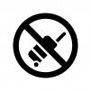 キャリーケース(バッグ)の持ち込み禁止の白黒シルエットイラスト