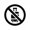 キャリーケース(バッグ)の持ち込み禁止の白黒シルエットイラスト02