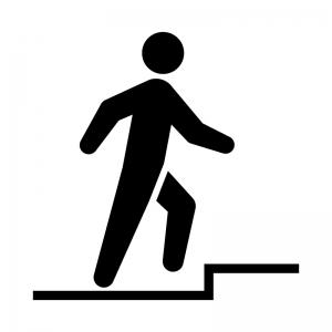 足元の段差に注意の白黒シルエットイラスト