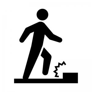 足元の段差に注意の白黒シルエットイラスト02
