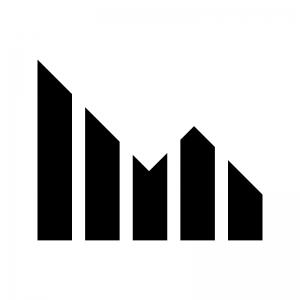 グラフ(下降)の白黒シルエットイラスト