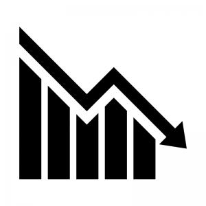 グラフ(下降)の白黒シルエットイラスト02