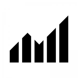 グラフ(上昇)の白黒シルエットイラスト