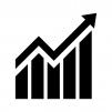 グラフ(上昇)の白黒シルエットイラスト02