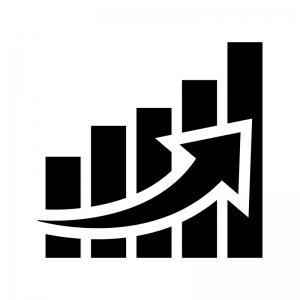 グラフ(上昇)の白黒シルエットイラスト03