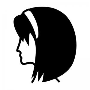 カチューシャを付けている女性(横顔)の白黒シルエットイラスト