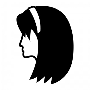 カチューシャを付けている女性(横顔)の白黒シルエットイラスト02