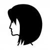 ボブのヘアースタイルの白黒シルエットイラスト