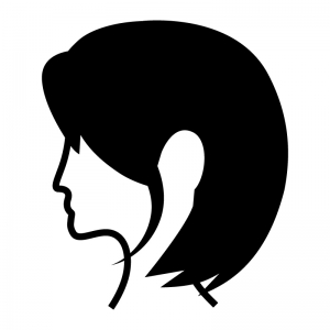 ボブのヘアースタイルの白黒シルエットイラスト02