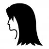 ロングのヘアースタイルの白黒シルエットイラスト