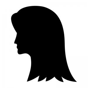 ロングのヘアースタイルの白黒シルエットイラスト02