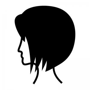 前下がりのヘアースタイルの白黒シルエットイラスト