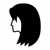 セミロングのヘアースタイルの白黒シルエットイラスト