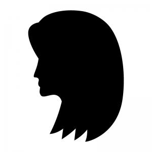 セミロングのヘアースタイルの白黒シルエットイラスト02