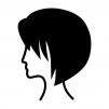 ショートヘアーの白黒シルエットイラスト