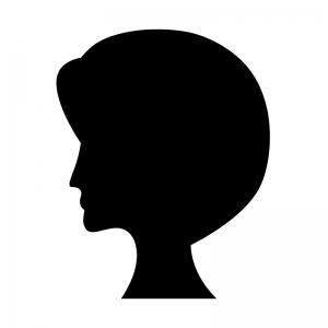 ショートヘアーの白黒シルエットイラスト02