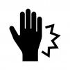 手の痛みの白黒シルエットイラスト