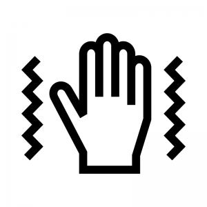 手の痺れ(しびれ)の白黒シルエットイラスト