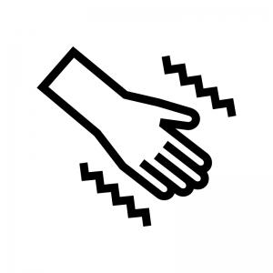 手の痺れ(しびれ)の白黒シルエットイラスト02