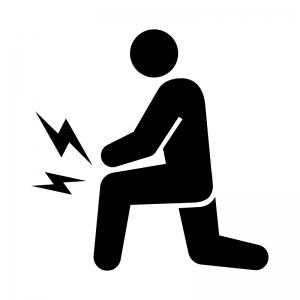 関節痛・膝の痛みの白黒シルエットイラスト