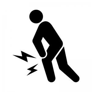 関節痛・膝の痛みの白黒シルエットイラスト02