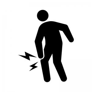 関節痛・膝の痛みの白黒シルエットイラスト03