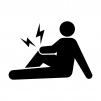 関節痛・膝の痛みの白黒シルエットイラスト04
