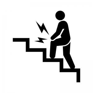 関節痛・上り階段での膝の痛みの白黒シルエットイラスト