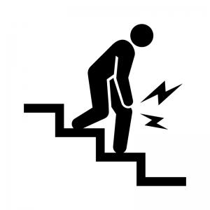 関節痛・下り階段での膝の痛みの白黒シルエットイラスト