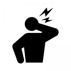 関節痛・首の痛みの白黒シルエットイラスト